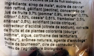 Oursons bio - Ingrediënten