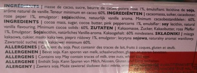 Chocolat Noir Poivre Rose - 60% Cacao - Ingrediënten