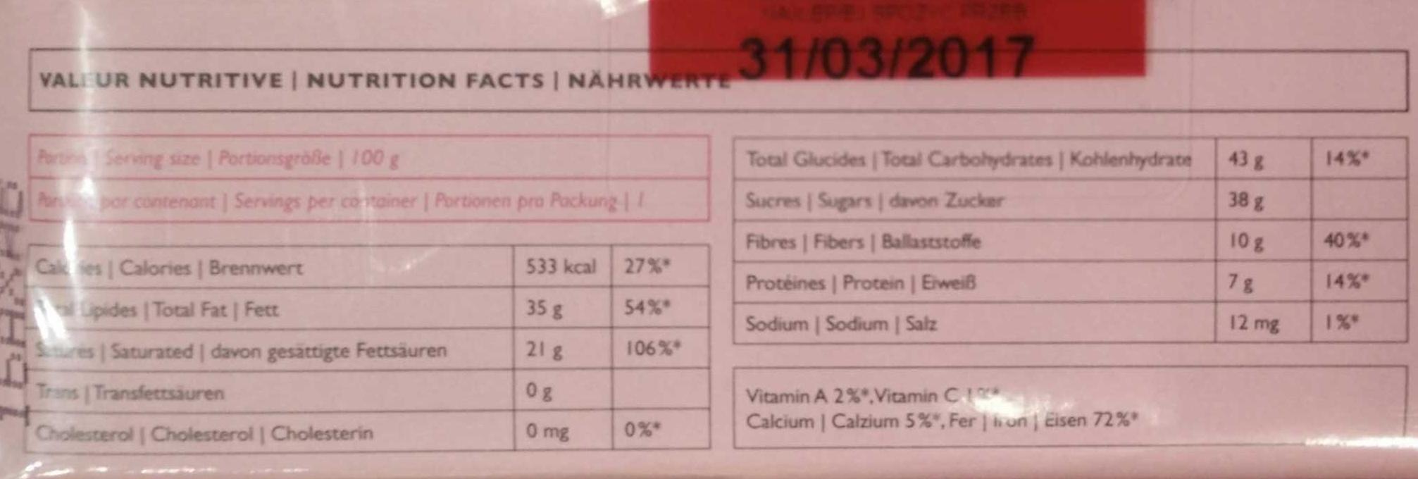 Chocolat Noir Poivre Rose - 60% Cacao - Voedigswaarden