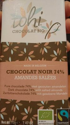 70G Chocolat Bio Noir 74% Cacao Amandes Salees - Product - nl
