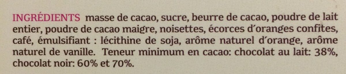 Assortiment chocolats - Ingrédients - fr
