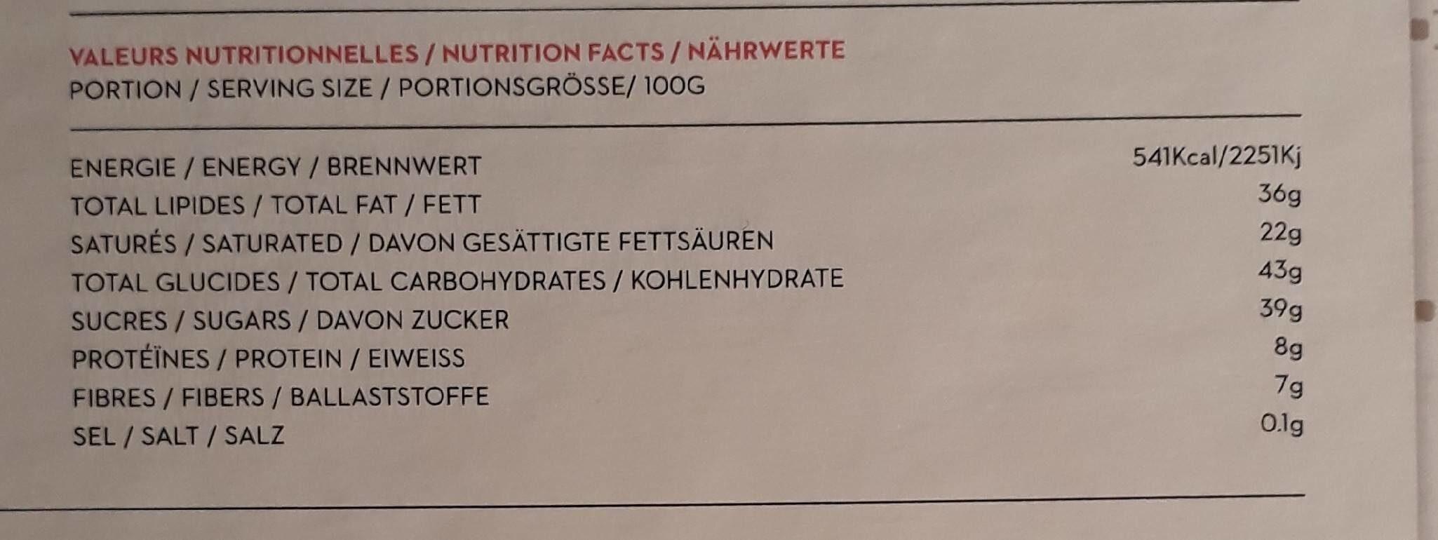 Assortiment de 27 chocolats - Informations nutritionnelles - fr