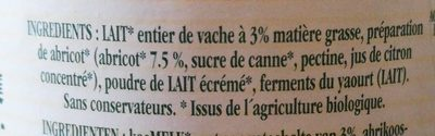 Yaourt aux abricots - Ingrédients - fr