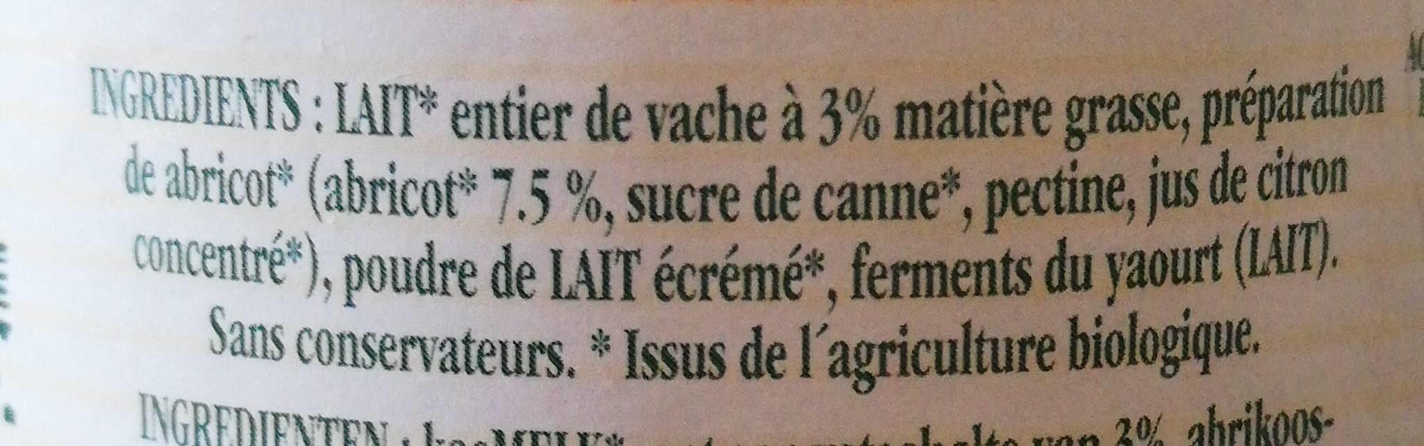 Yaourt aux abricots - Ingredients - fr