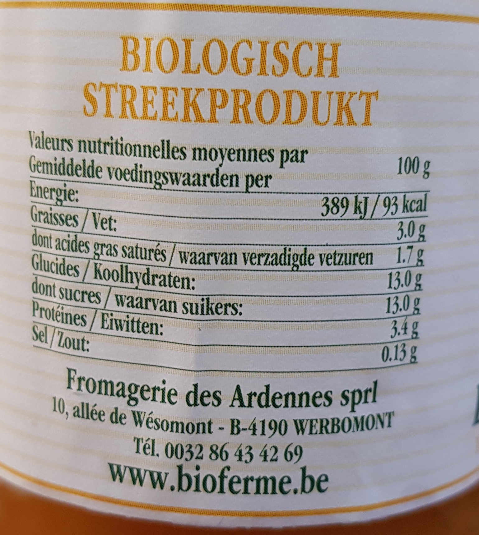 Yaourt aux abricots - Nutrition facts - fr
