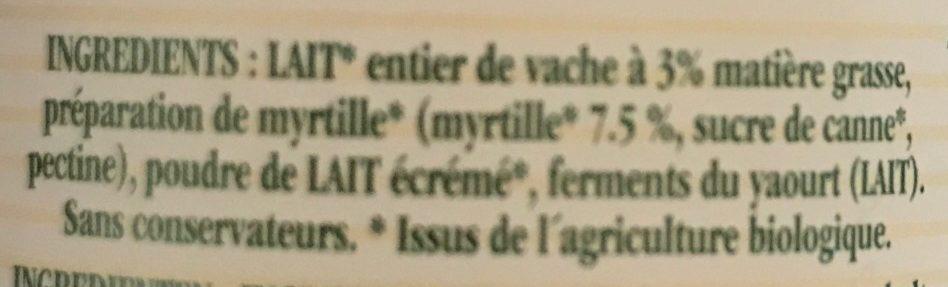 Yaourt aux myrtilles - Ingrédients