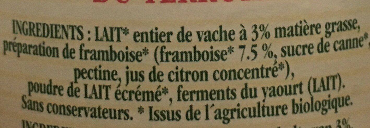 Yaourt aux framboises - Ingredients - fr