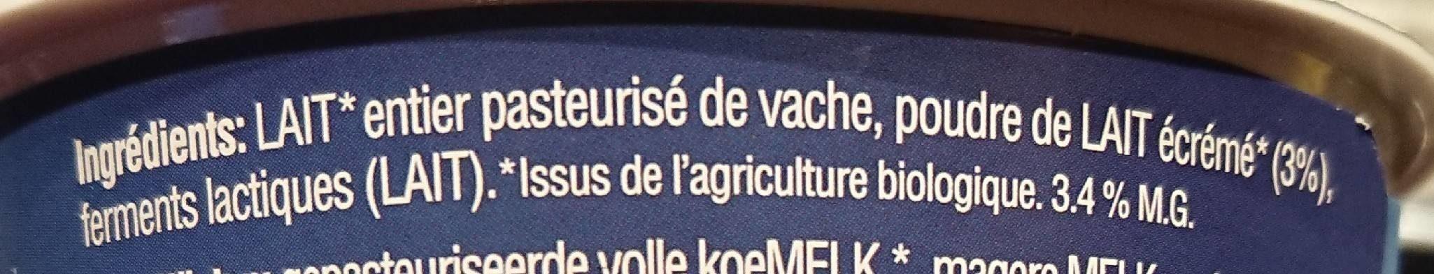 Yaourt artisanal biologique - Ingredients