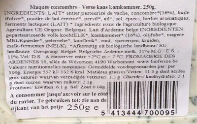 Concombre Maquée artisanale - Nutrition facts - fr