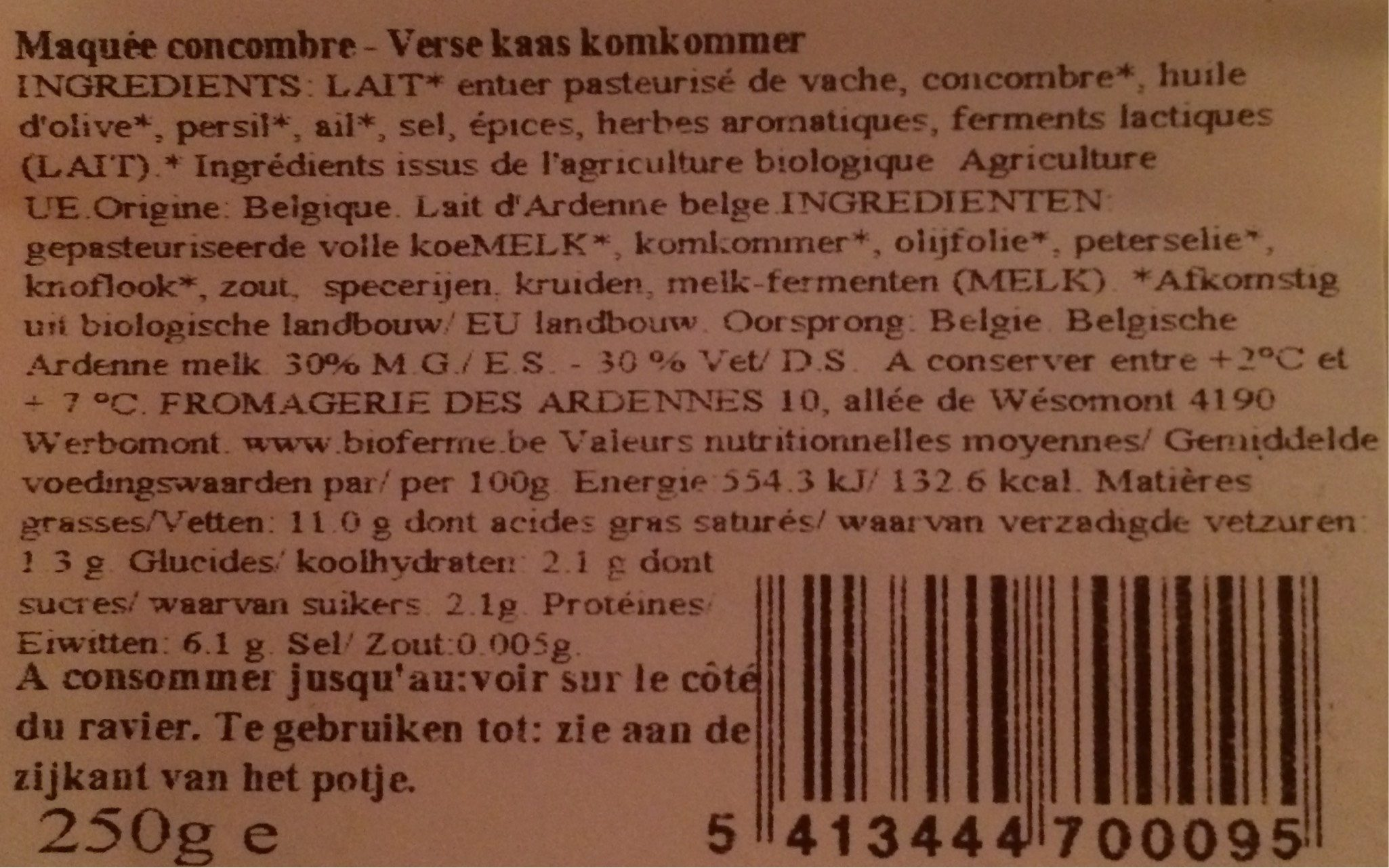 Concombre Maquée artisanale - Nutrition facts