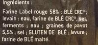 Baguette au pavot - Ingrédients - fr