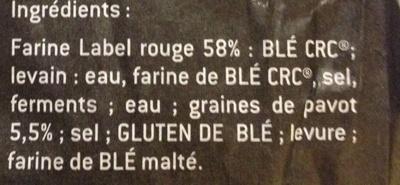 Baguette au pavot - Ingrédients
