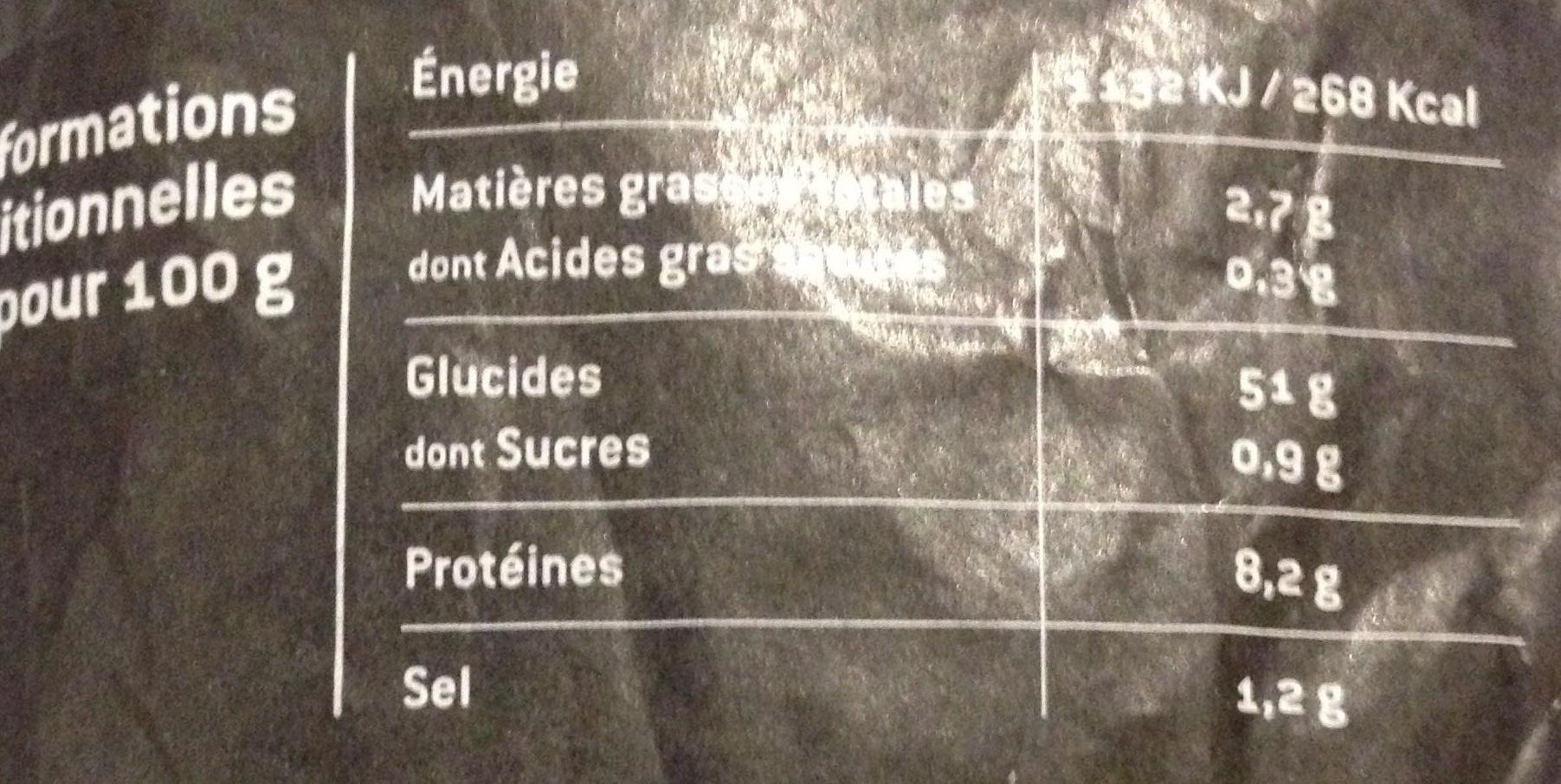 Baguette au pavot - Informations nutritionnelles - fr