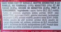 Muffins vanille cacao noisette - Ingrédients