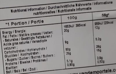 White vanilla doony's - Informations nutritionnelles