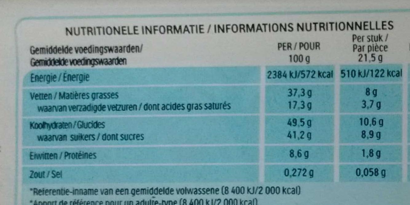 Bueno lait et noisettes - Voedingswaarden - fr