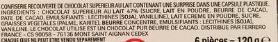Kinder surprise t6 boite de 6 œufs - Ingredienti - fr