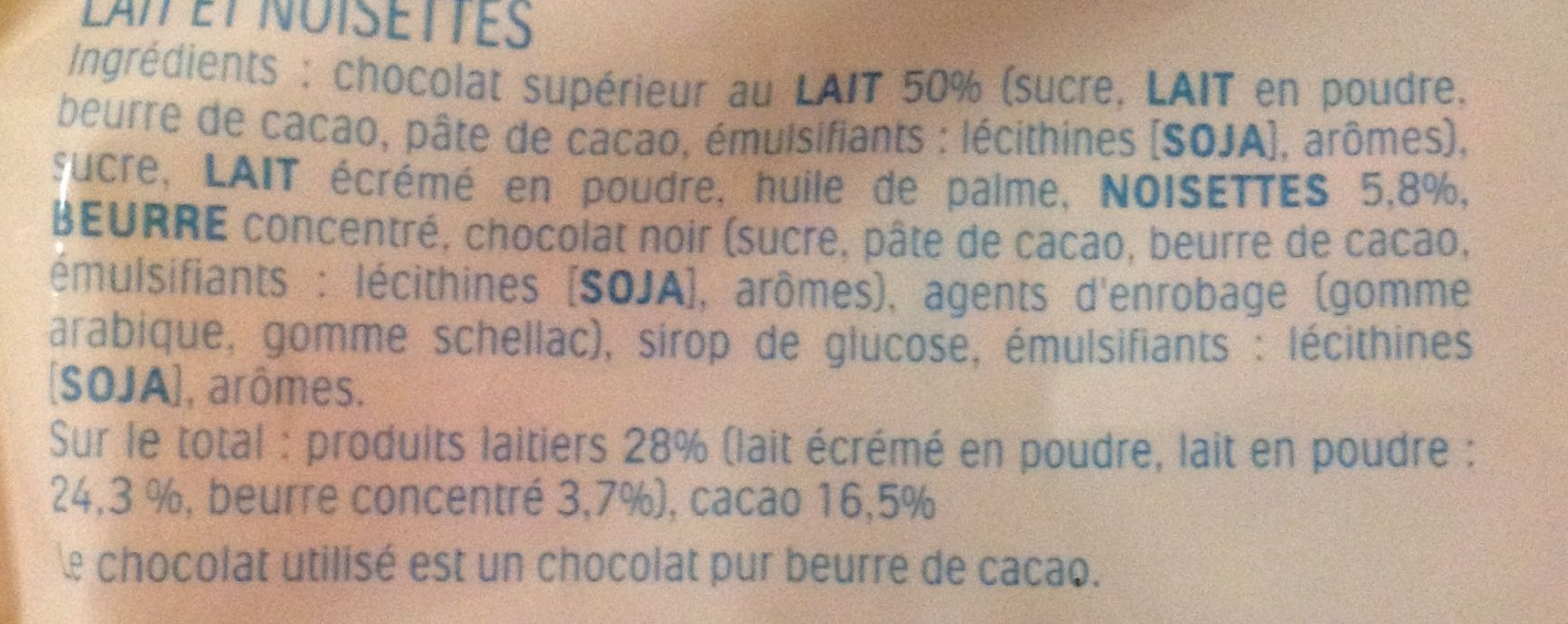 Schoko-Bons - Ingredients - fr