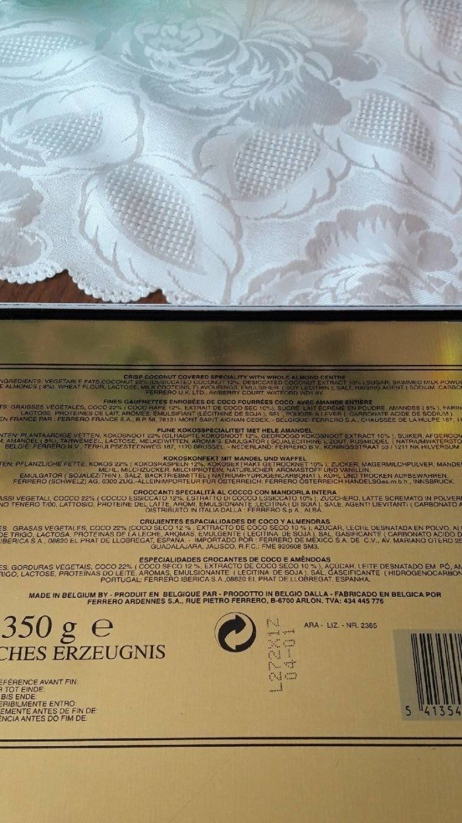 Confetteria Raffaello - Ingrédients - fr