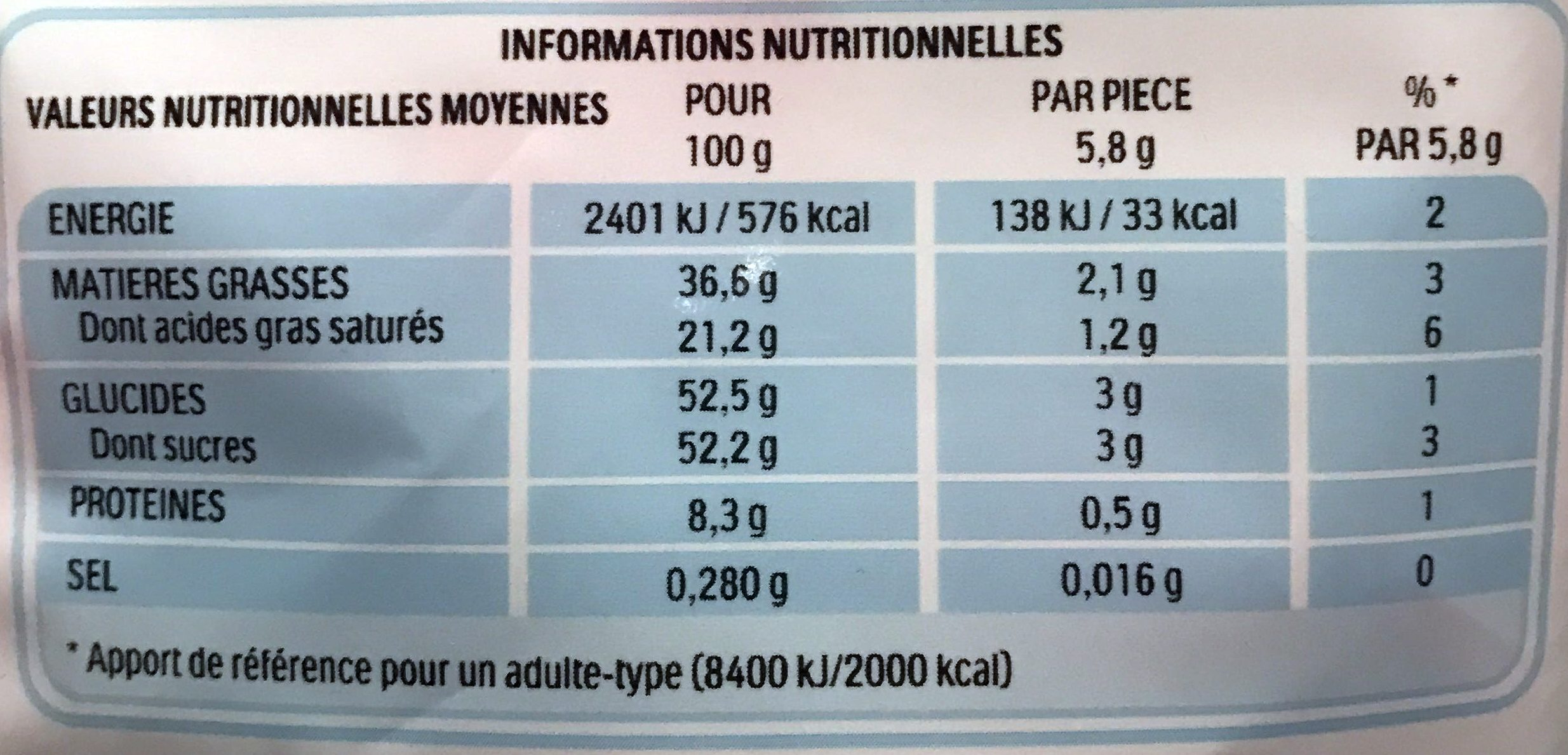 Kinder schokobons sachet de - Nutrition facts - fr