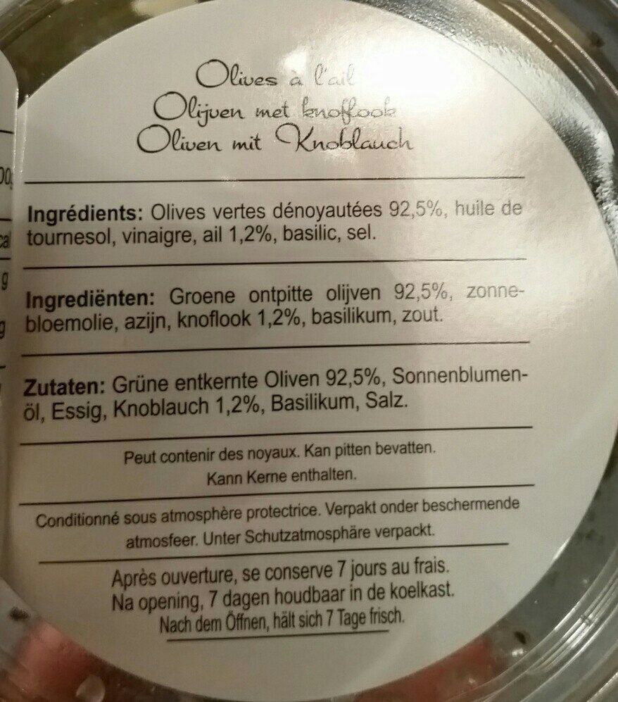 Père Olive Olives à l'ail - Ingredients