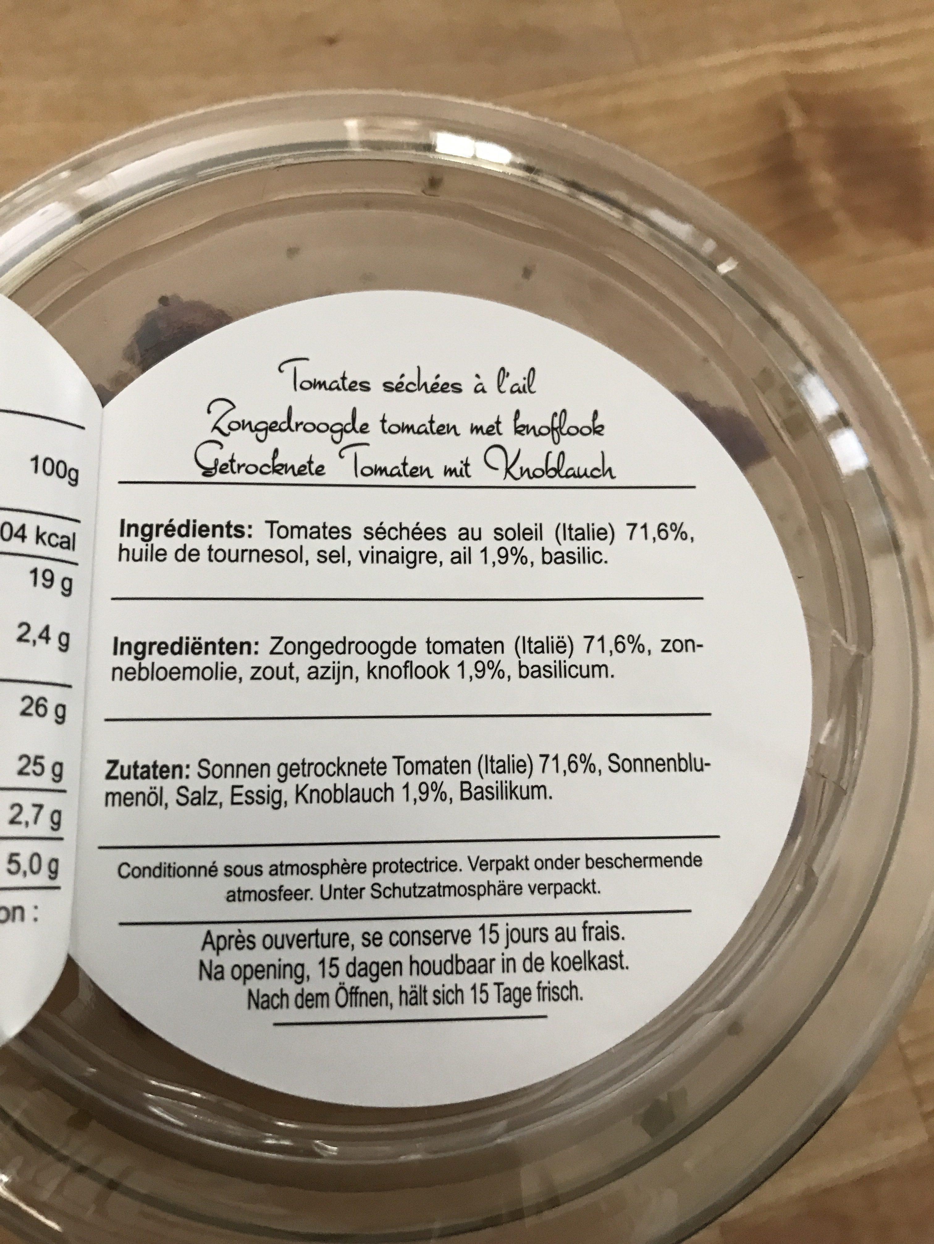 Tomates séchées à l'ail - Ingredients - fr