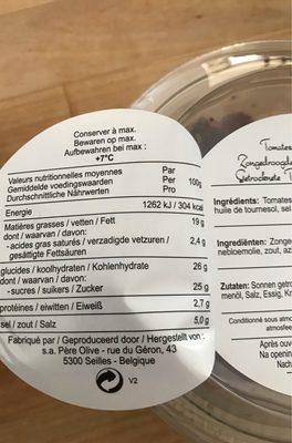 Tomates séchées à l'ail - Nutrition facts - fr