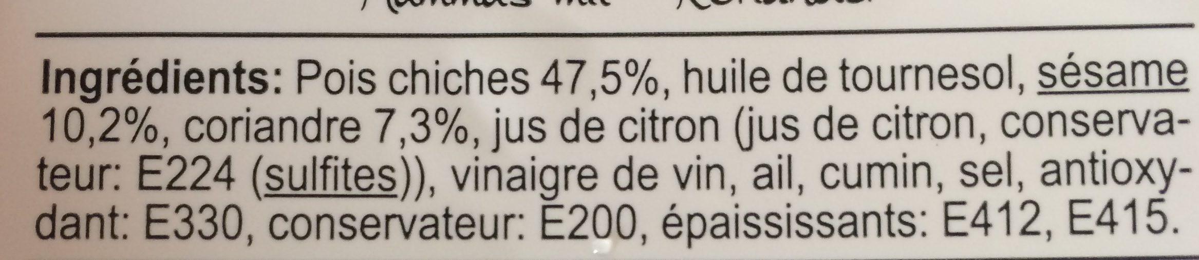 Houmous à la coriandre vegan - Ingrediënten - fr
