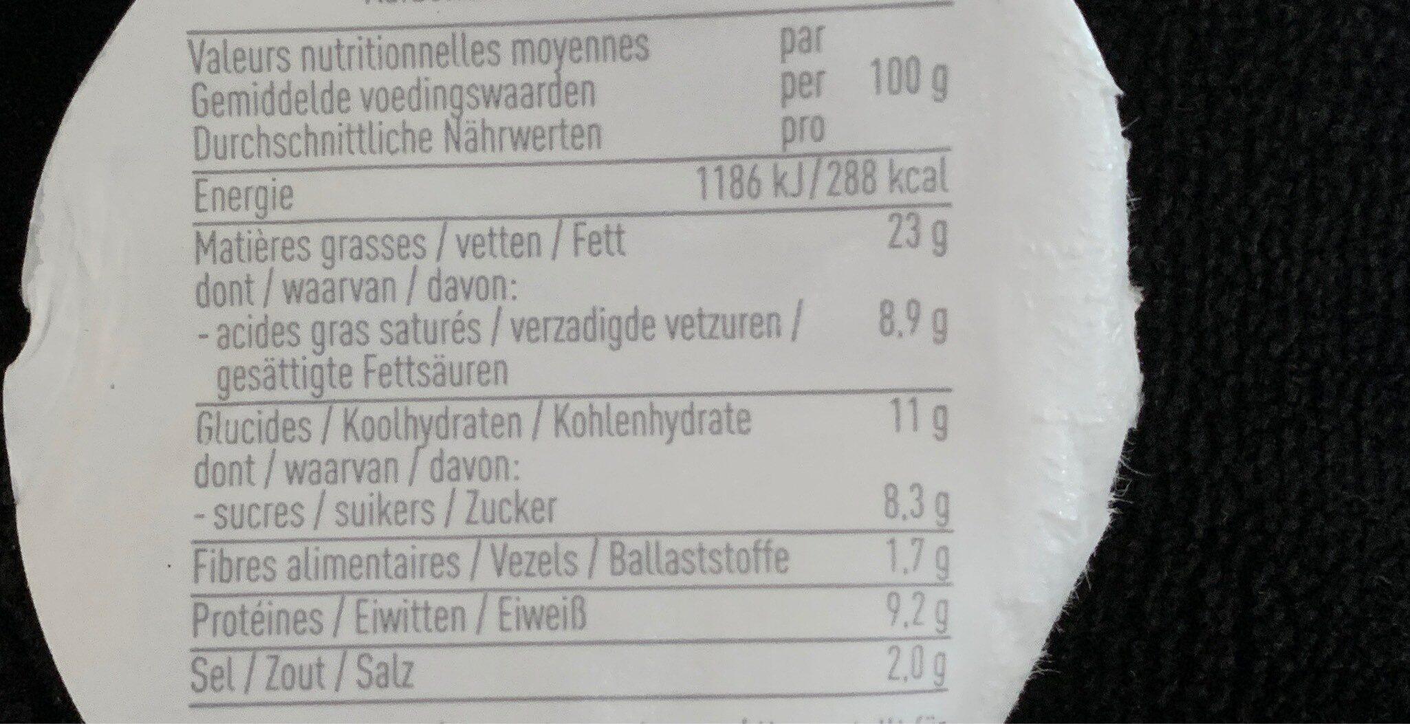Créme de fromage piment foux - Nutrition facts - fr