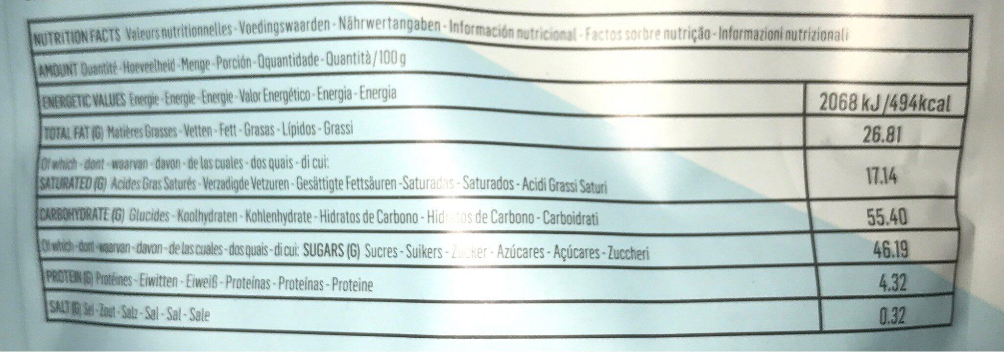 Thins coconut - Información nutricional - es
