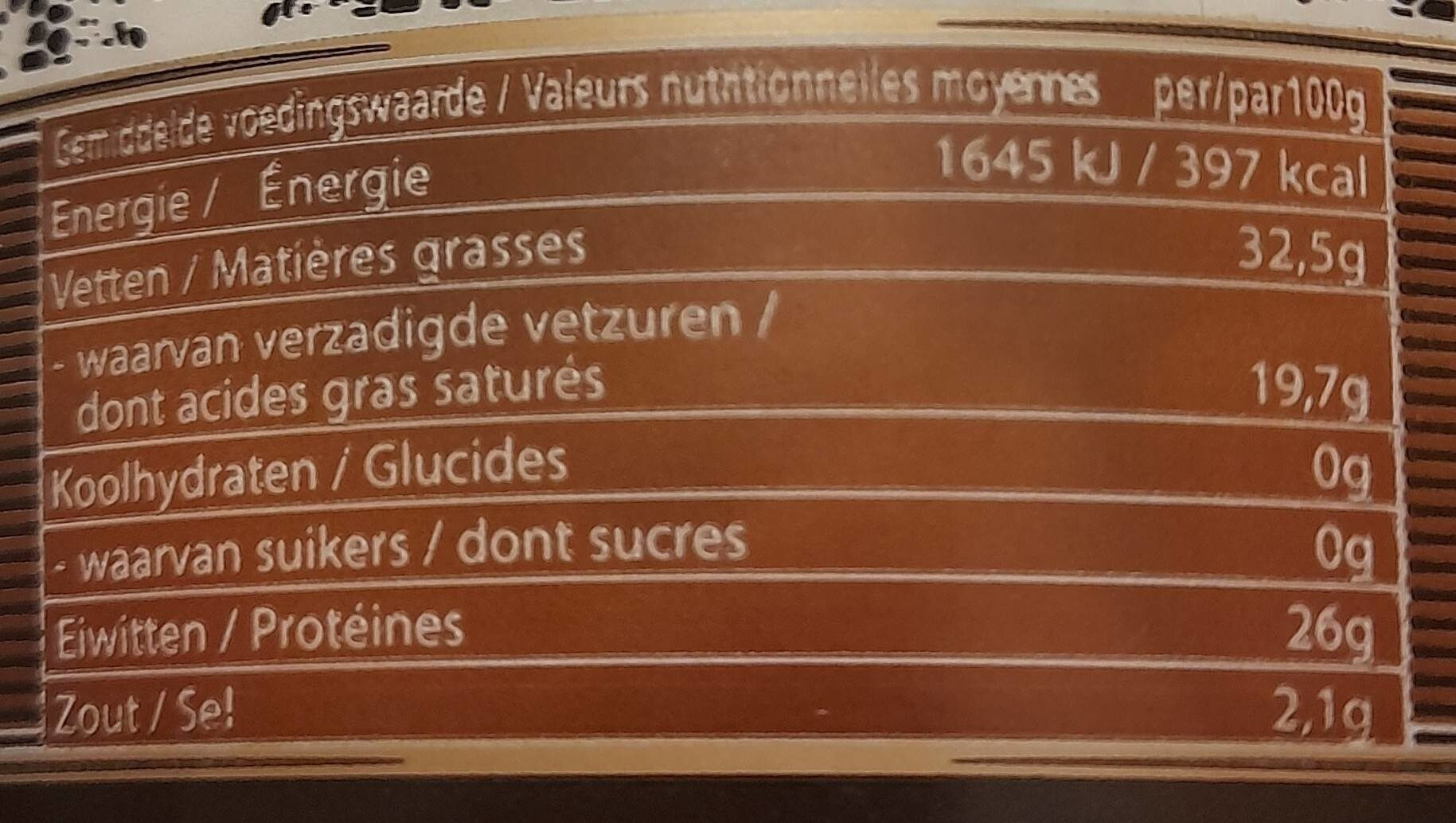 Vieux Brugge - Nutrition facts - fr