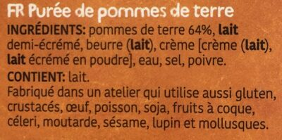 Purée de pommes de terre - Ingrédients