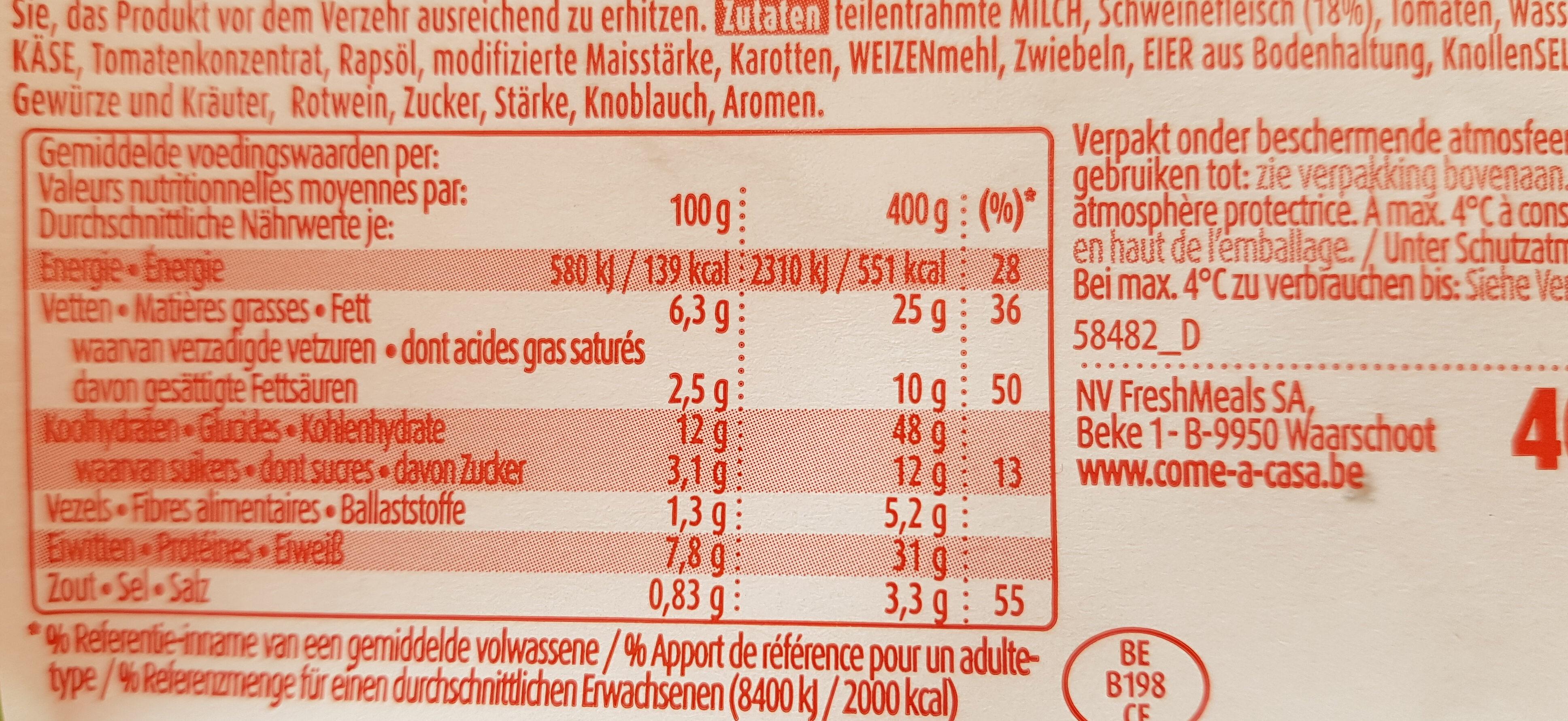 Lasagne bolognese - Nutrition facts - fr