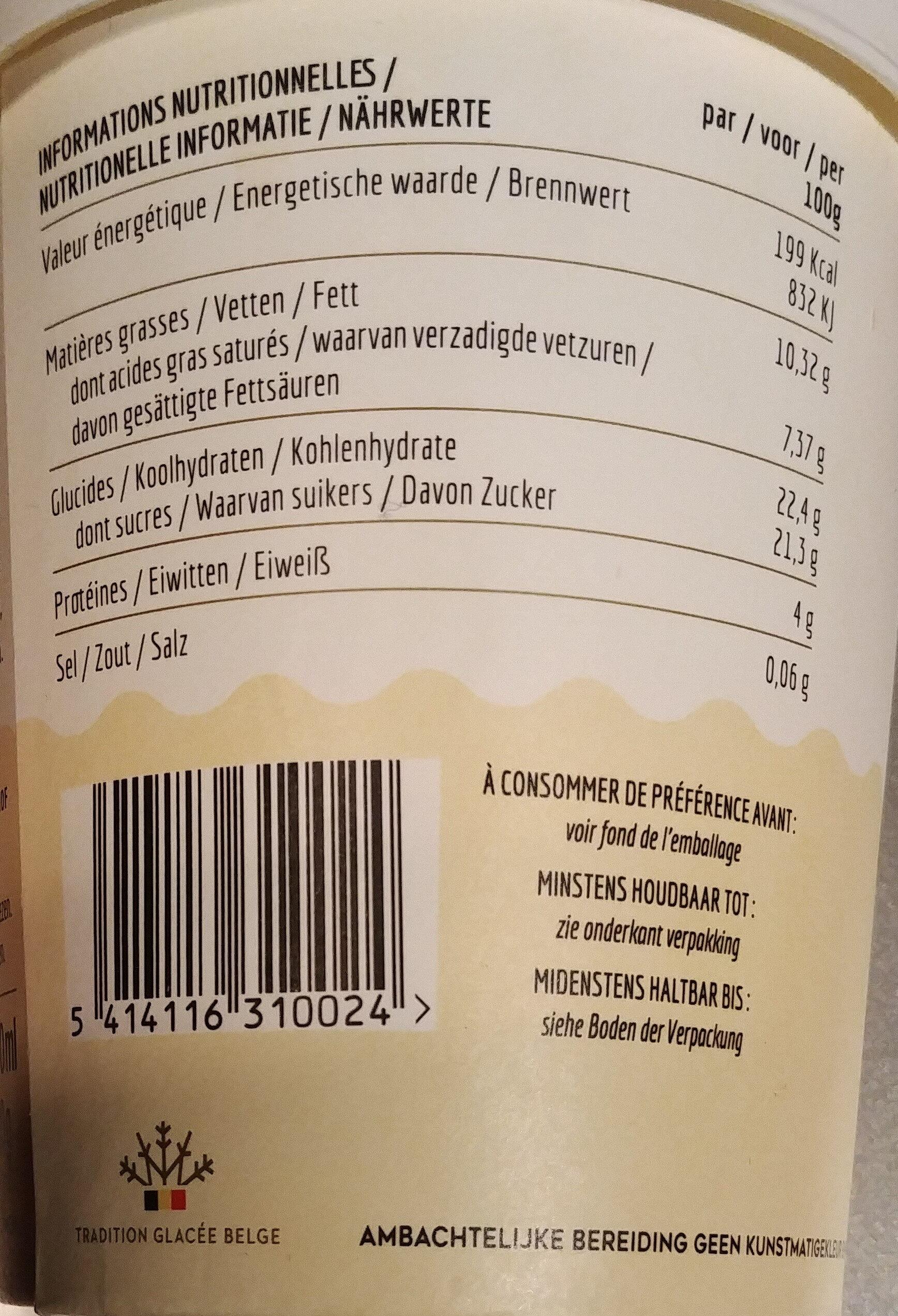Vanille Bourbon au Beurre - Informations nutritionnelles