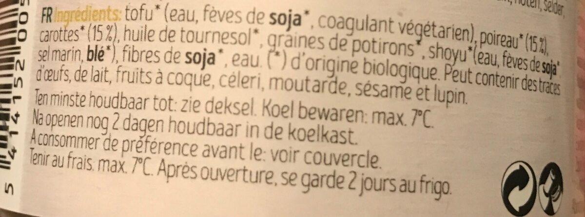 Pâté aux légumes - Ingrediënten