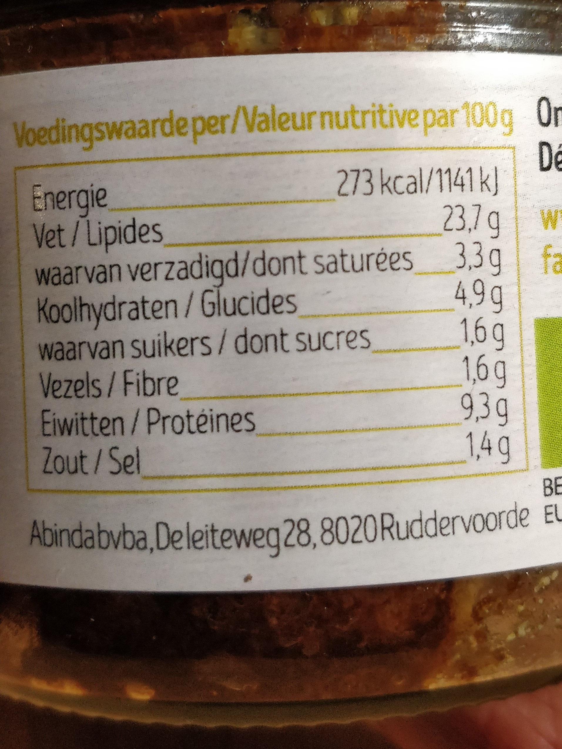 Pâté aux légumes - Voedingswaarden