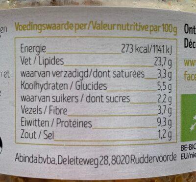 Pâté aux légumes - Voedingswaarden - fr