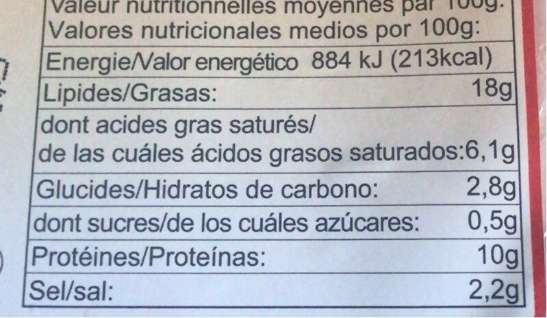 Biberli dilim salam - Informations nutritionnelles - fr