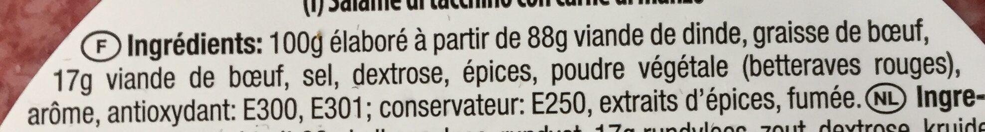 Salami de dinde hallal - Ingrédients - fr