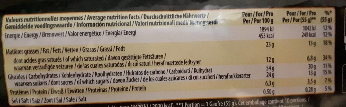 Gaufres de Liège - Información nutricional