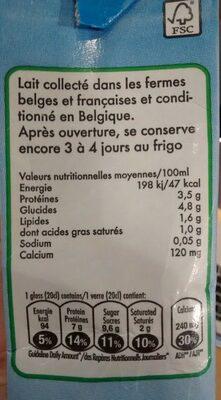 lait UHT demi écrémé 15%mg - Ingredients