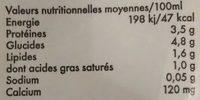 lait UHT demi écrémé 15%mg - Informations nutritionnelles - fr