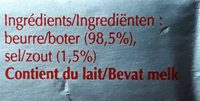 Beurre de laiterie salé - Ingrediënten