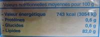 Beurre Doux (82 % MG) Extra fin congelé - Informations nutritionnelles - fr