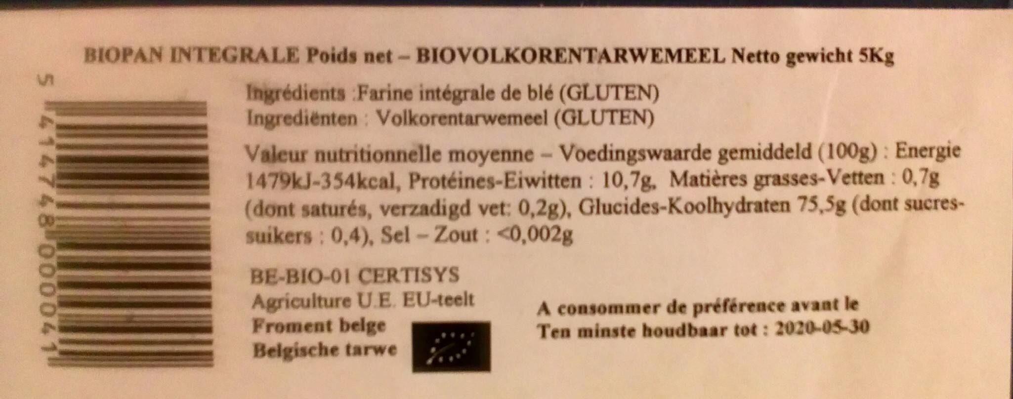 Biopan integrale - Voedingswaarden