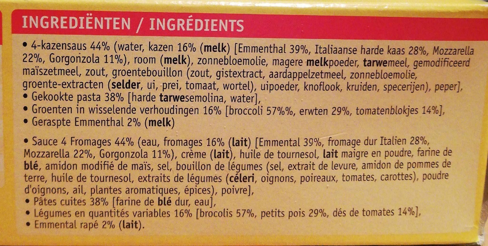 Penne 4 fromages au petit légumes - Ingrediënten - en