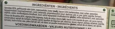 Iglo Field Fresh Spruitjes Met Spek - Ingrédients
