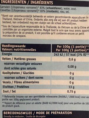 Crevettes - Voedingswaarden
