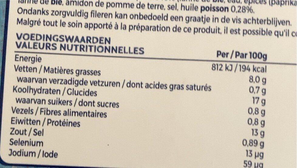 Fish sticks - Informations nutritionnelles - fr