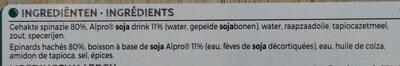 Epinards hachés avec Alpro - Ingrediënten